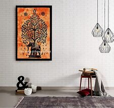 Indian Poster Elephant Tree of Life Wall Hanging Throw Small Tapestry Door Decor