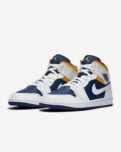 Air Jordan 1 Retro Mid Schuhe Weiß Laser Orange Blau 554725-131GS Neu Turnschuhe