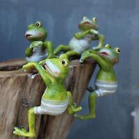 4pcs Resin Frog Hanging Climbing Frog Craft Decoration Figurine for Potting