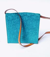 Small Teal Authentic Céline Convertible Purse Wallet, Genuine Leather and Suede