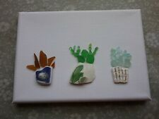 5x7 Beach glass picture succulents  handmade real beach glass lovely