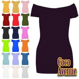 New Ladies Short Sleeve Off Shoulder Plain Stretchy Slim Fit Bardot T-Shirt Top