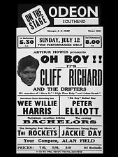 """Cliff Richard and Shadows Southend Odeon 16"""" x 12"""" Photo Repro Concert Poster"""