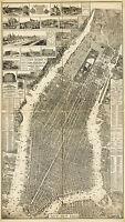 1879 Bird's-eye-view Taylor Map Manhattan New York New Jersey Wall Art Poster