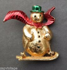 Vtg Gerrys Gold Christmas Skiing Snowman Pin Brooch Costume Jewelry