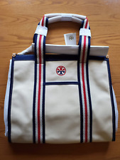 Tory Burch Embroidered T Tote in Natural NWT