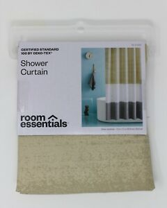 """Room Essentials Color Block Striped 72"""" Fabric Shower Curtain Beige White NEW"""