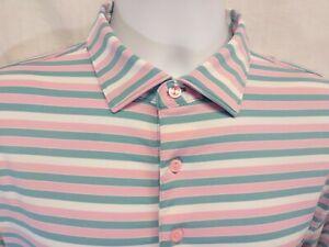 PETER MILLAR Summer Comfort Mens Medium Striped Polo Golf Shirt ~ Poly Blend