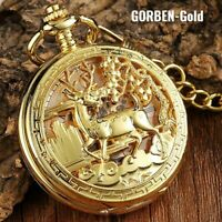 Vintage antique mechanical necklace chain pocket watch bronze silver gold black