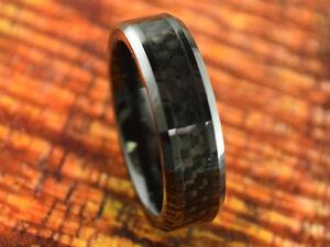 Black Ceramic Wedding Band,6MM,Carbon Fiber,Engagement,Beveled,Comfort Fit