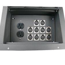 Recessed stage floor pocket audio box with 10 XLR female mic jacks & AC duplex