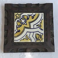 Vintage Mexican White Yellow Design Tile Trivet Orion Monterrey Carved Wood
