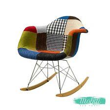 Sedia a Dondolo in Tessuto Patchwork Multicolor - SPEDIZIONE GRATUITA