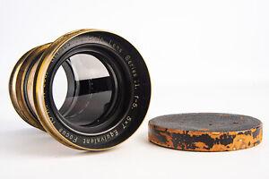 Wollensak Vesta Series II 5x7 10 Inch f/5 Brass Petzval Portrait Lens RARE V17
