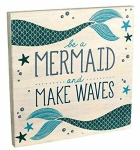 """NEW Be a Mermaid and Make Waves Wooden Sign Plaque 12"""" x 12"""" Beach Ocean Decor"""