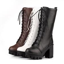 Platform Womens chunky High Heels  Lace Up Gothic lolita cosplay mid-calf Boots