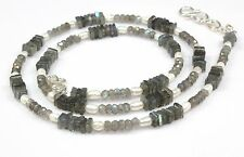 Ct 64 Natural Labradorite Micro Faceted Pearl Beads Necklace Birthday Gift Sale