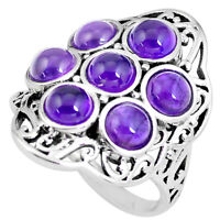 925 Sterling Silver 6.54cts Natural Purple Amethyst Round Ring Size 8 P56087