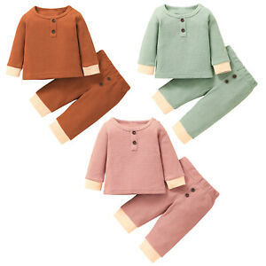 Baby Girls Button Deco Waffle Knit Clothes Pullover Top Long Pants Casual Set