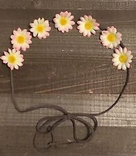 Handmade Pink Yellow Daisy Flower Halo String Tie Headband Summer Boho Chic
