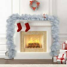 9FT Christmas Garland Door Wreath Fireplace Pine Ribbon Xmas Decorations White