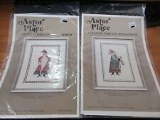 Set of 2 Astor Place Red & Green St. Nicklaus Cross Stitch Design Chart 1985 NIP