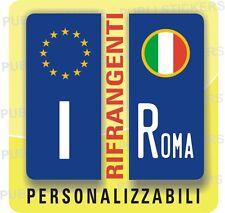 ADESIVI BLU RIFRANGENTI PER TARGA AUTO EUROPEA CON BANDIERA ITALIA E PROVINCIA