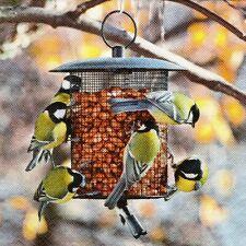 SERVIETTES EN PAPIER OISEAUX MESANGES MANGEOIRE. PAPER NAPKINS BIRDS FEEDER TIT