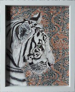 Original large white Indian tiger cat picture painting William Morris fabric