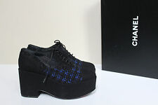 New sz 8 / 38 CHANEL Tweed Lace up Cap toe CC Logo Fashion Oxford Heel Shoes