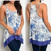 Womens Blue White Floral Racerback Tank Top Tunic Sz Small