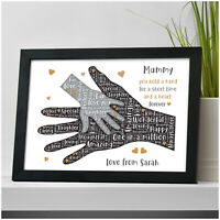 PERSONALISED Birthday Gifts for MUMMY MUM NANNY NANNA Hand on Hand Presents