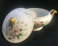 """Grace China Rochelle Casserole Dish Floral Gold Covered Round 8"""" Occupied Japan"""