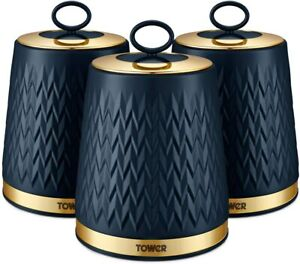 Tower T826091MNB Empire Set of 3 Storage Canisters Coffee/Sugar/Tea,1.3 Litre,Mi