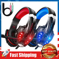 Wired Stereo Gaming Headset LED Headphone Over Ear for PS4 New Xbox PC W/ Mic