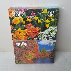 2 504 Piece Prestige Puzzles  Ossippee River and Spring Flowers Sealed Boxes