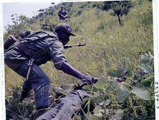 4x5 Original Transparency Korean War Pvt Searches Body while under Fire #16072