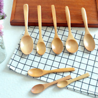 5Pcs Small Wooden Spoon Teaspoon Coffee Dessert Children Cutlery Kitchen Tools