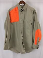 WOOLRICH Button Front Long Sleeve Orange Elbow Patch Hunting Tan Mens Shirt XL