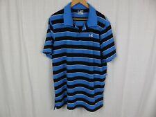 Under Armour Men's Striped Short Sleeve Polo Shirt Regular Fit Blue Black Sz 3XL