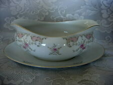 Vintage HARMONY HOUSE Antoinette Fine China Gravy Boat w/Attached Underplate