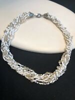 Vintage Bohemian Beaded Twisted Strand  White Silver Clear Choker Necklace. 14""