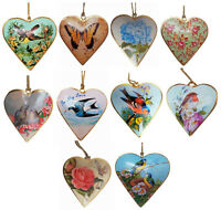 Vintage Style Bird Floral Metal Heart Hanging Decoration Gift Rose Butterfly