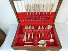 MORNING ROSE  1960 at 52 PIECES FLATWARE CASED PARTIAL SET BY COMMUNITY ONEIDA