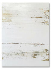 Large Modern Abstract Painting Contemporary Original Wall Art Gold White Canvas