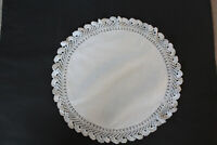 Vintage white linen round cloth with embossed dots and crochet edges.