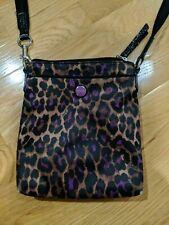 Coach Leopard Print Nylon File Crossbody Handbag Purple/Brown/Black