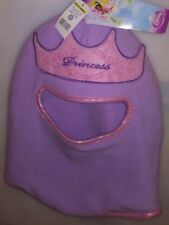 DISNEY PRINCESS 1 SIZE WINTER KIDS HAT FULL FACE PROTECTION PURPLE W/ CROWN A-22
