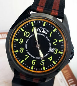 Alviero Martini 1° Classe Men's Watch Leather Cordura And Steel PVD IP Black