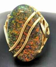 14k Yellow Gold Andamooka Rainbow Sugar Matrix Opal Custom Ring
